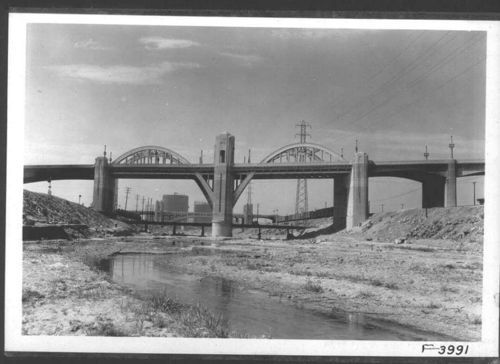 Crossing the L.A. River on the Sixth Street Bridge