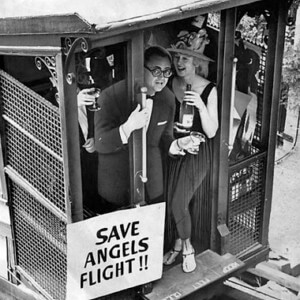"""Thank you Los Angeles Times, for this wonderful slide show of """"Angels Flight's First Opening""""!   Pictured: Radio/TV personality, Jim Hawthorne.  1969  (Photo by Ray Graham/Los Angeles Times)"""